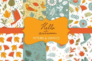 Hello autumn patterns and graphics