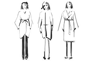 Fashion models. Sketch. Coat