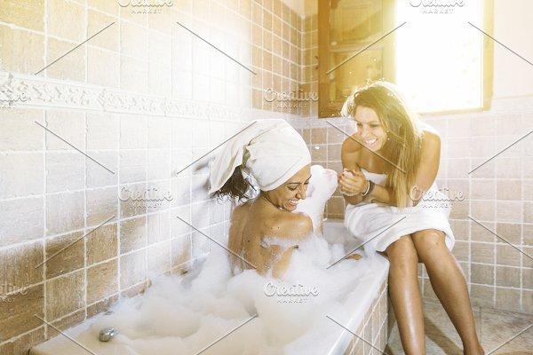 two shower lesbian Hot in