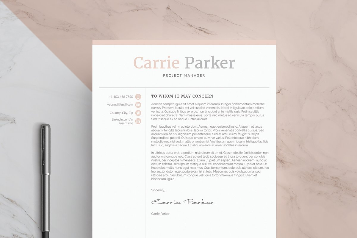 word resume  cover letter template  creative cover