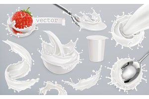 Yogurt, milk splashes. Vector