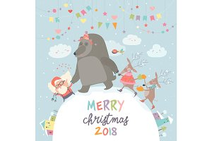 Happy Santa ,reindeers and bear celebrating Christmas