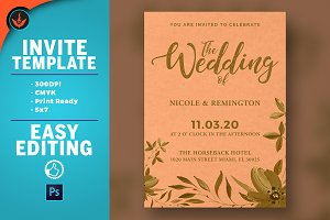 Gold and Peach Wedding Invite