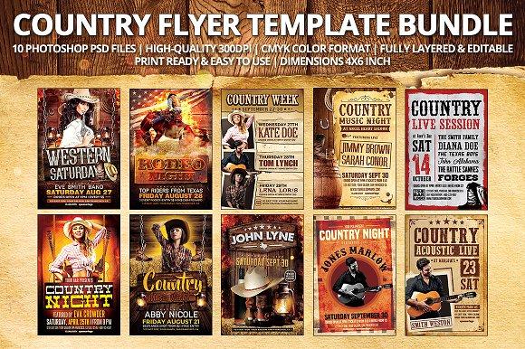 Country Flyer Template Bundle Flyer Templates Creative Market