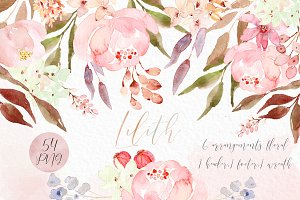Lilith. Pink watercolour flowers