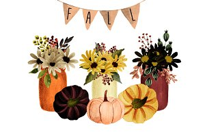 Mason jar fall florals