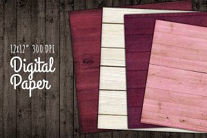 Wood Backgrounds Digital Paper Love