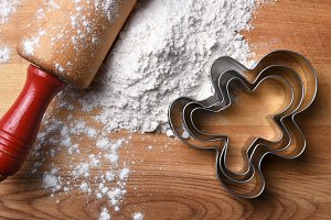 Rolling Pin Flour and Cookie Cutters