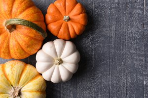 Assorted decorative pumpkins