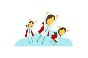 Three superhero business lady girls are flying over the city with hand up. Success and victory. In tie and red cloak. Vector illustration.