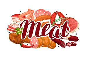 Background with meat products. Illustration of sausages, bacon and ham