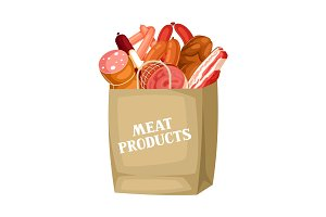 Shopping bag with meat products. Illustration of sausages, bacon and ham