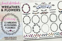 Hand Drawn Wreaths and Flowers