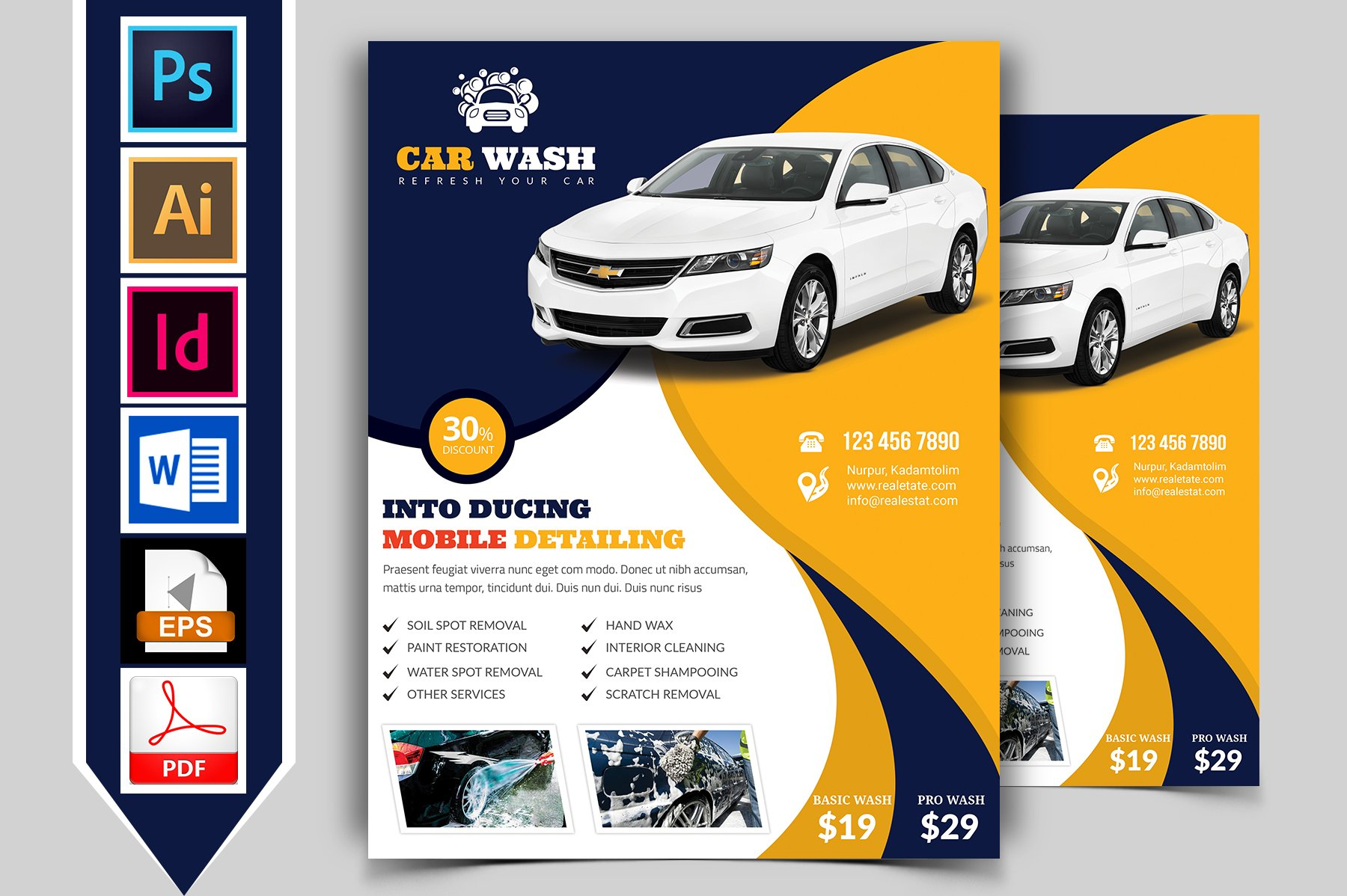 Car wash flyer template vol 07 flyer templates for Automobile brochure design