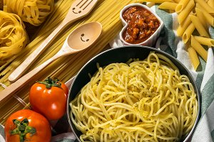 Various Ingredients for spaghetti