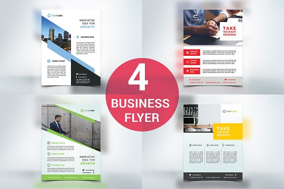 4 Business Flyers-Graphicriver中文最全的素材分享平台