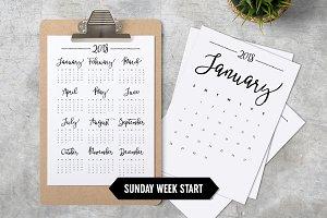 Calendar 2018 A4 Minimalistic