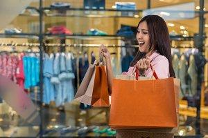 young asian woman shopping