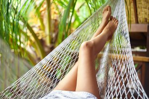 woman legs in hammock