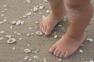 Baby toes on beach with shells