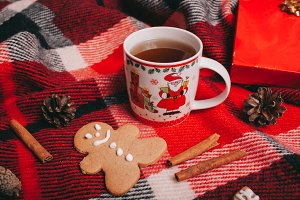 christmas tea cup and gingerbreads