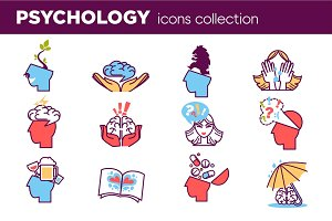 Psychology abstract symbols set. Conceptual signs