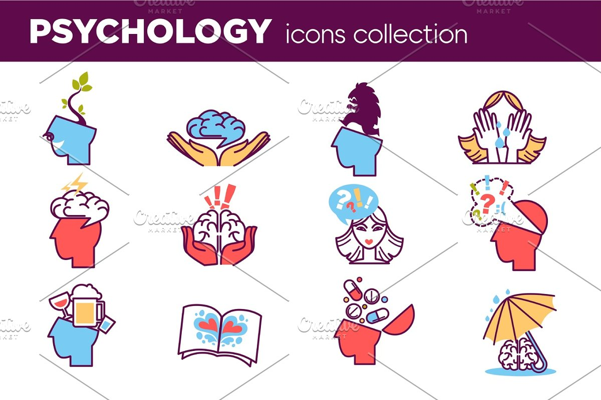 Psychology Abstract Symbols Set Illustrations Creative Market