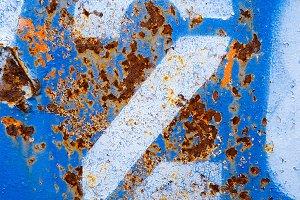 2 on Blue Rust Metal Background