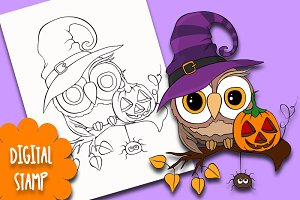 Happy Halloween Owl Digital stamp