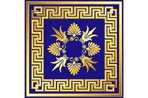 Golden square frame with Greek Meander pattern