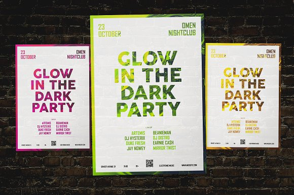 Glow In The Dark Party Flyer Flyer Templates Creative Market