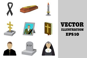 Set of funeral cartoon icon.