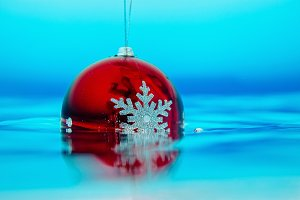 ew year tree decoration in the water