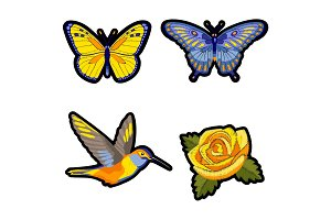 Rose, hummingbird and butterflies embroidery patch set