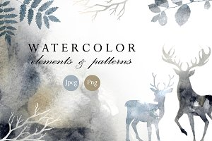 Watercolor elements and patterns