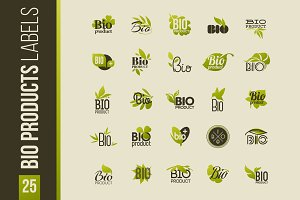 Set of bio products labels & emblems