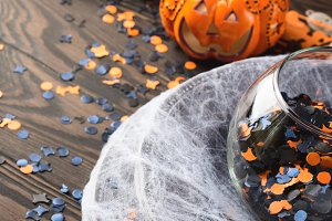 Halloween party items on dark background