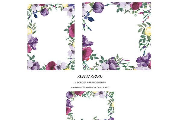 Plum & Purple Floral Border Set