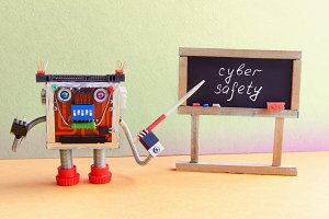 Cyber safety concept. Robot programmer lectures protection of computers Internet network. Friendly cyborg toy with pointer, black chalkboard handwritten warning text. Green yellow classroom interior.
