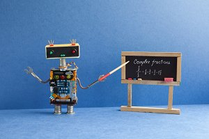 Complex fractions math lesson. Mathematician robot teacher with pointer explains handwritten example exercise on black chalkboard. Blue interior classroom background.