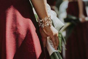 Hands Holding Bouquet w/Diamonds