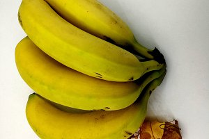 Ripe bananas and dry leaves