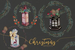 Watercolor Christmas Lantern Clipart