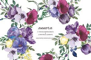 Watercolor Plum & Purple Florals