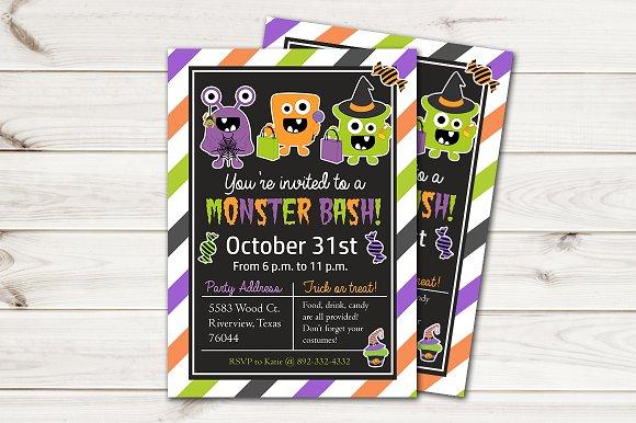 Kids Halloween Invitation Monsters Invitation Templates Creative