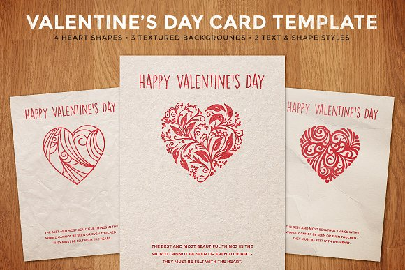 Simple Valentines Day Card Template Card Templates Creative Market