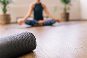Yoga mat in fitness center