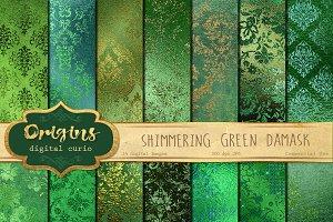 Shimmering Green Damask Textures