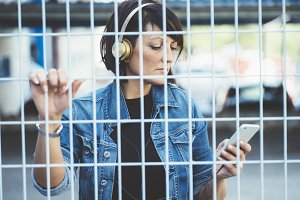 brunette girl with headphones