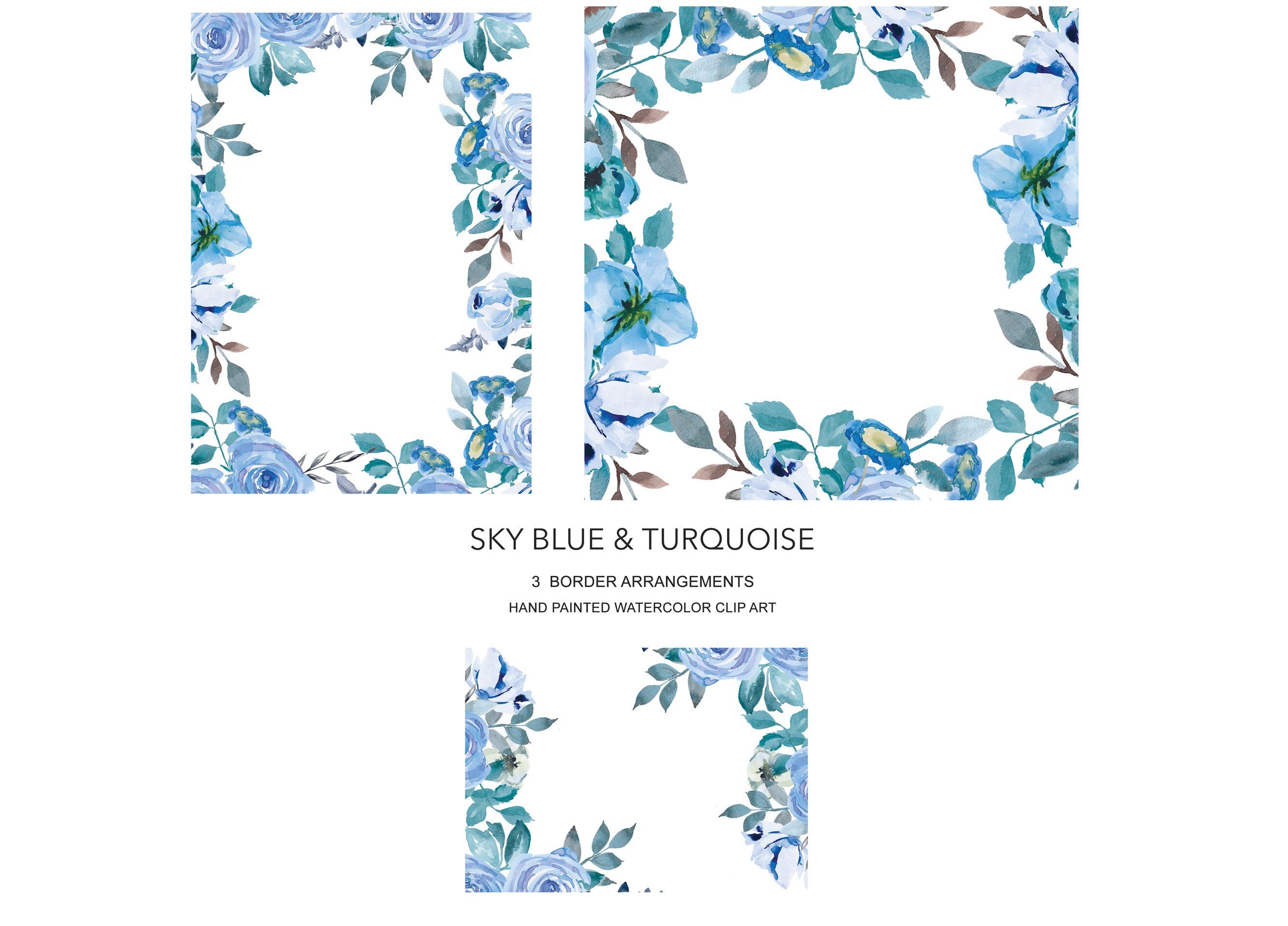 sky blue floral border set illustrations creative market